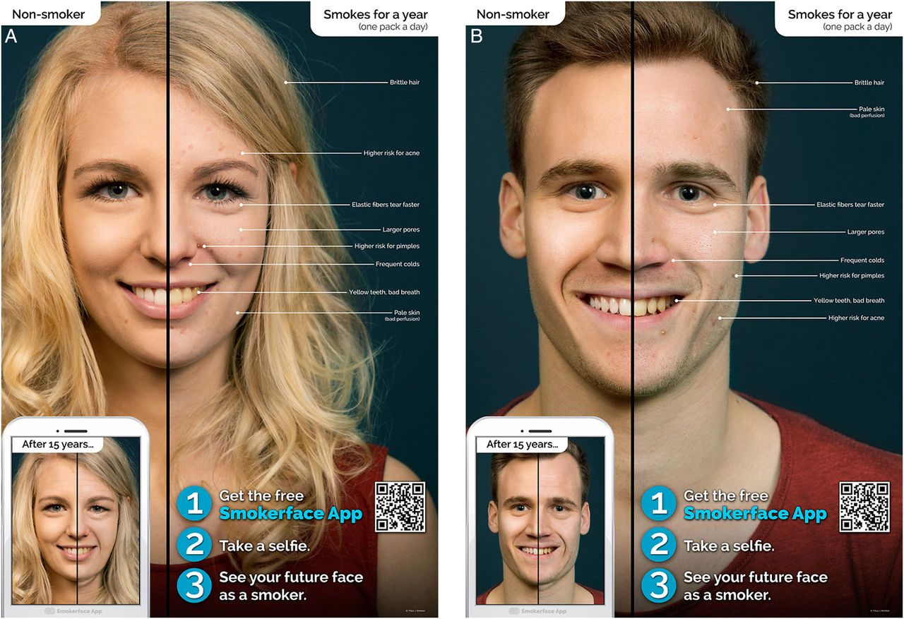 Photoaging smartphone app promoting poster campaign to reduce