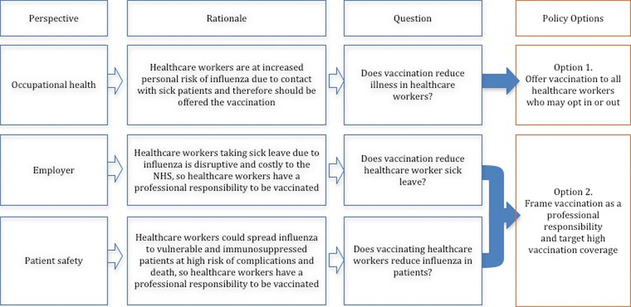 influenza vaccination for healthcare workers in the uk  appraisal of systematic reviews and