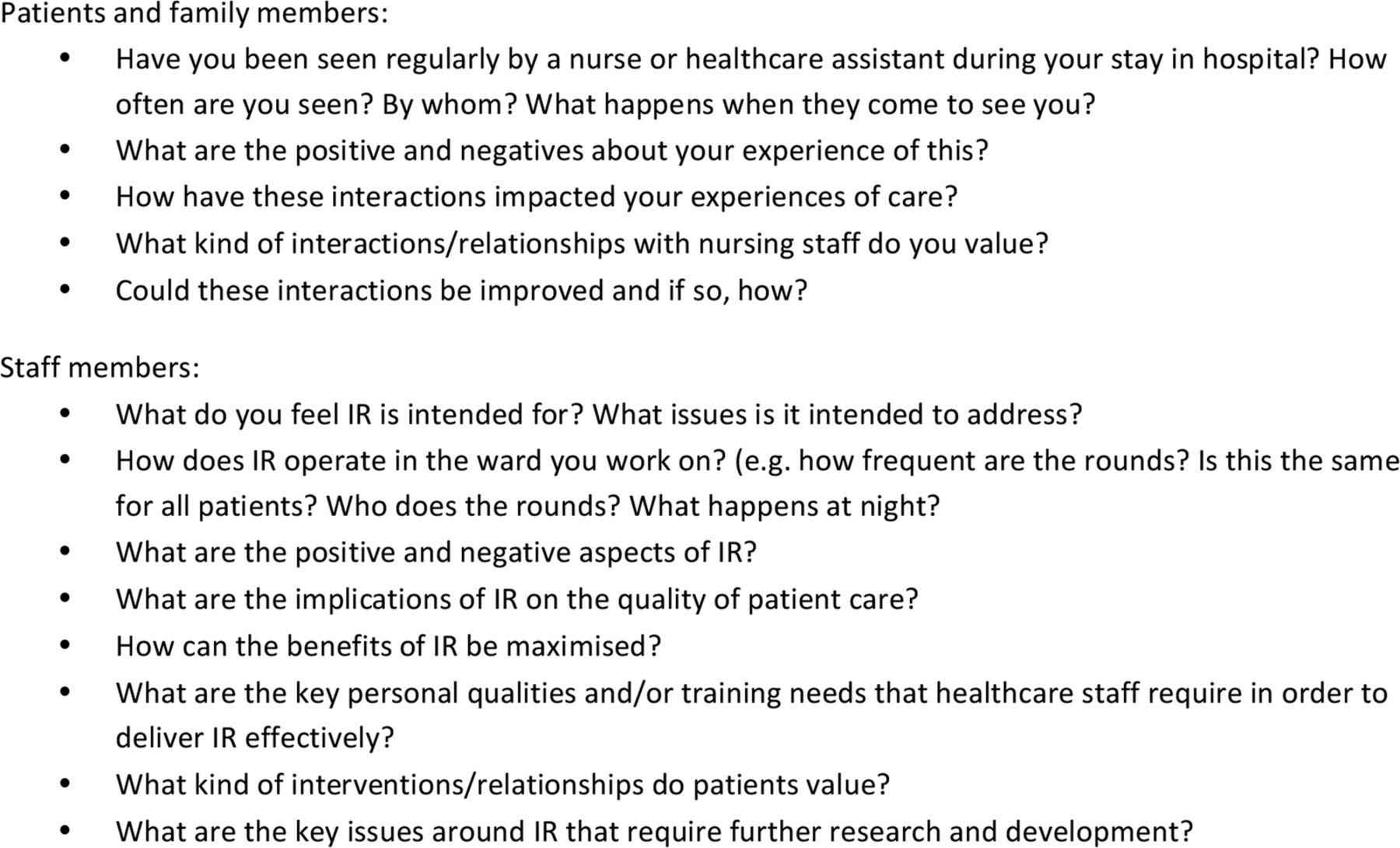 what aspects of intentional rounding work in hospital
