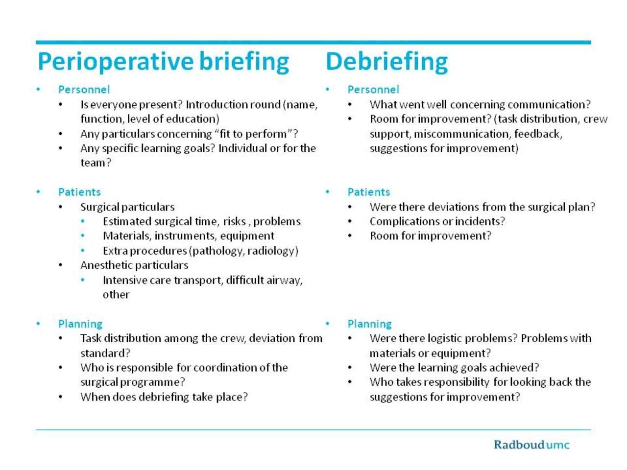 Effects Of Perioperative Briefing And Debriefing On