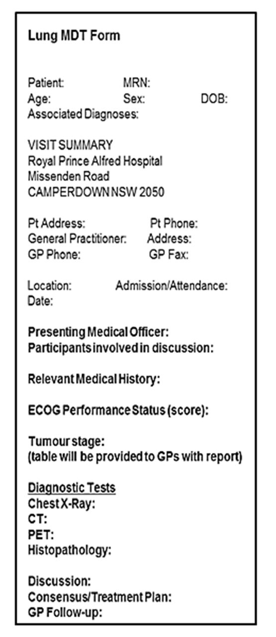 implementation of a lung cancer multidisciplinary team