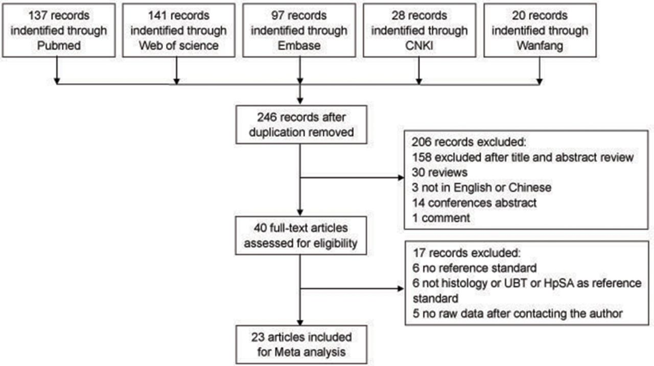 Accuracy of testing for antiHelicobacter pylori IgG in