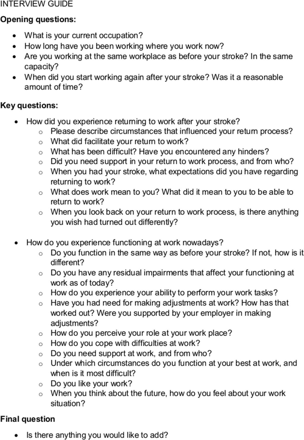 Experiences Of Returning To Work And Maintaining Work 7 To 8 Years