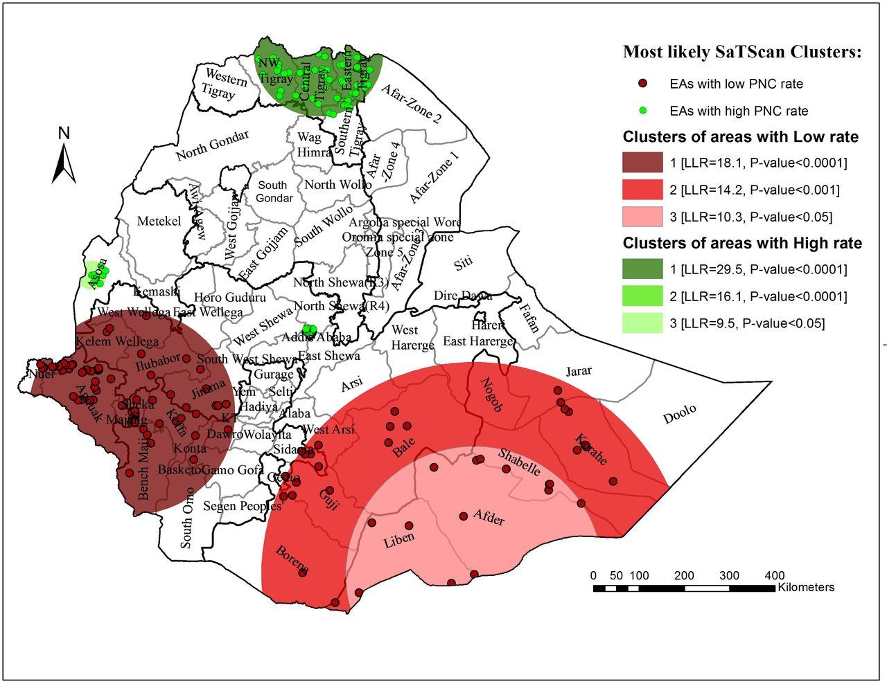 Spatial patterns and determinants of postnatal care use in Ethiopia